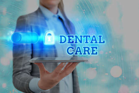 Text sign showing Dental Care. Business photo showcasing maintenance of healthy teeth or to keep it clean for future Graphics padlock for web data information security application system