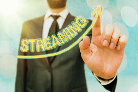Word writing text Streaming. Business photo showcasing process, or an instance of streaming data or accessing data digital arrowhead curve rising upward denoting growth development concept