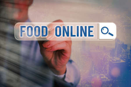 Conceptual hand writing showing Food Online. Concept meaning the practice of taking action to improve one s is own health Web search digital futuristic technology network connection