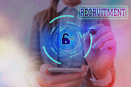 Conceptual hand writing showing Recruitment. Concept meaning action of finding new possible employee to join organization or support Graphics padlock for web data security application system