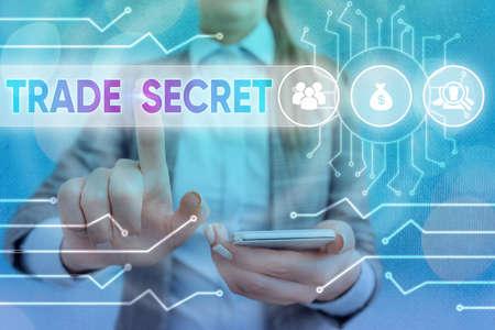 Handwriting text writing Trade Secret. Conceptual photo Confidential information about a product Intellectual property System administrator control, gear configuration settings tools concept Banco de Imagens