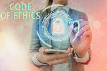 Text sign showing Code Of Ethics. Business photo text basic guide for professional conduct and imposes duties Graphics padlock for web data information security application system