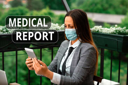 Word writing text Medical Report. Business photo showcasing report of the results of a medical examination of a patient Promoting health awareness with set of medical precautionary equipment Banco de Imagens