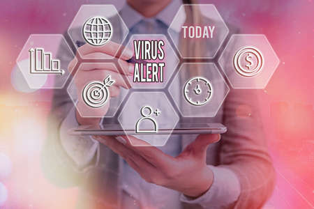 Word writing text Virus Alert. Business photo showcasing a quick to notice any unusual and potentially dangerous Grids and different set up of the icons latest digital technology concept