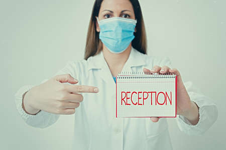 Writing note showing Reception. Business concept for social gathering often for the purpose of extending a welcome Laboratory technician featuring empty paper accessories smartphone Standard-Bild