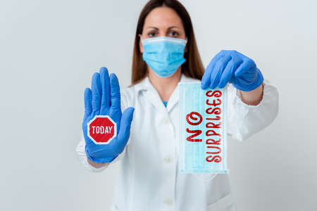 Word writing text No Surprises. Business photo showcasing Presupposed Eventual Destined Traditional Set The Usual Laboratory blood test sample shown for medical diagnostic analysis result