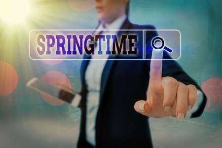 Conceptual hand writing showing Springtime. Concept meaning season of the year during which the weather becomes warmer Web search digital futuristic technology network connection Banco de Imagens
