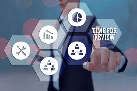 Text sign showing Time For Review. Business photo showcasing review of a system or situation in its formal examination Grids and different set up of the icons latest digital technology concept