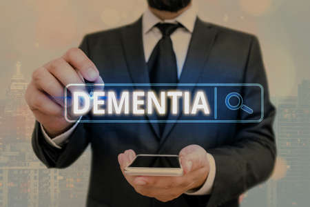 Word writing text Dementia. Business photo showcasing usually, a progressive condition marked by multiple deficits Web search digital information futuristic technology network connection