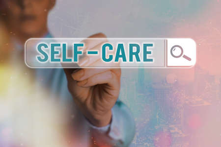 Conceptual hand writing showing Self Care. Concept meaning the practice of taking action to improve one s is own health Web search digital futuristic technology network connection