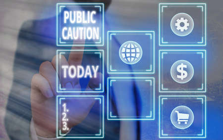 Word writing text Public Caution. Business photo showcasing formal warning given to the public to express a potential risk Grids and different set up of the icons latest digital technology concept