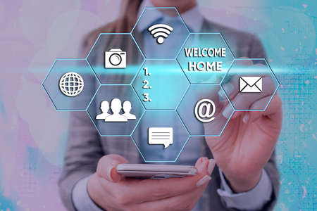 Word writing text Welcome Home. Business photo showcasing Expression Greetings New Owners Domicile Doormat Entry Grids and different set up of the icons latest digital technology concept