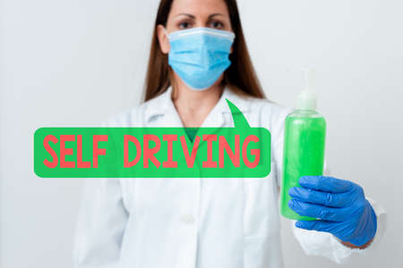 Word writing text Self Driving. Business photo showcasing Autonomous vehicle Ability to navigate without input Laboratory blood test sample shown for medical diagnostic analysis result