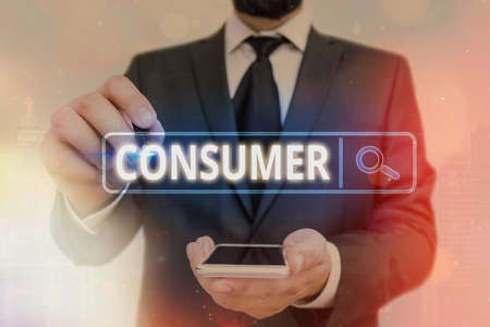 Word writing text Consumer. Business photo showcasing one that utilizes economic goods that are sold by manufacturers Web search digital information futuristic technology network connection