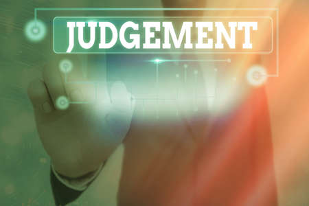 Conceptual hand writing showing Judgement. Concept meaning process of forming an evaluation by discerning and comparing Information digital technology network infographic elements Imagens