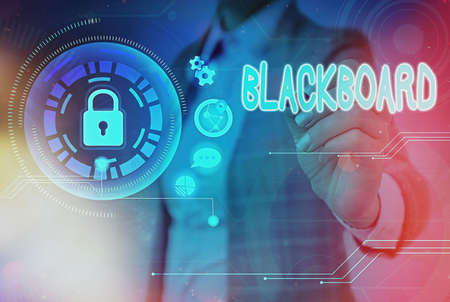 Writing note showing Blackboard. Business concept for hard smooth usually dark surface used especially in a classroom Graphics padlock for web data information security application system