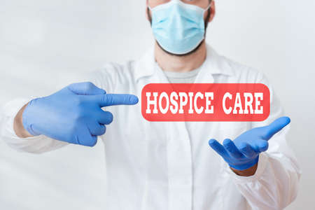 Text sign showing Hospice Care. Business photo text focuses on the palliation of a terminally ill patient s is pain Laboratory Technician Featuring Empty Sticker Paper Accessories Smartphone
