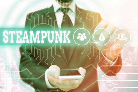 Text sign showing Steampunk. Business photo showcasing science fiction dealing with 19thcentury societies dominated System administrator control, gear configuration settings tools concept Zdjęcie Seryjne