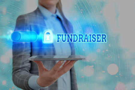 Text sign showing Fundraiser. Business photo showcasing an individual whose job or task is seek financial support for charity Graphics padlock for web data information security application system Zdjęcie Seryjne