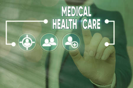 Handwriting text writing Medical Health Care. Conceptual photo restoration of our physical and mental wellbeing Information digital technology network connection infographic elements icon