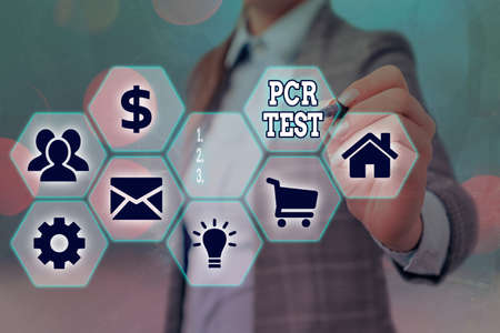 Conceptual hand writing showing Pcr Test. Concept meaning qualitative detection of viral genome within the short seqeunce of DNA Grids and different icons latest digital technology concept