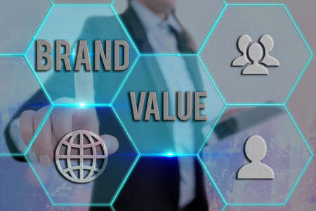 Text sign showing Brand Value. Business photo showcasing company generates from product with recognizable for its names Grids and different set up of the icons latest digital technology concept Stock Photo