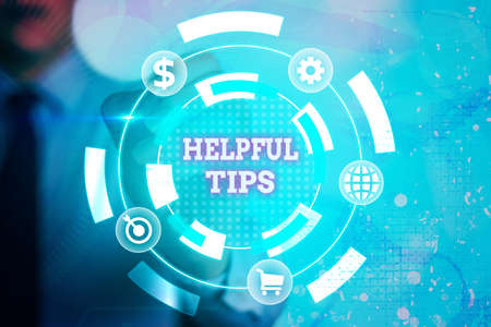 Writing note showing Helpful Tips. Business concept for Ask an Expert Solutions Hints Consulting Warning Information digital technology network infographic elements