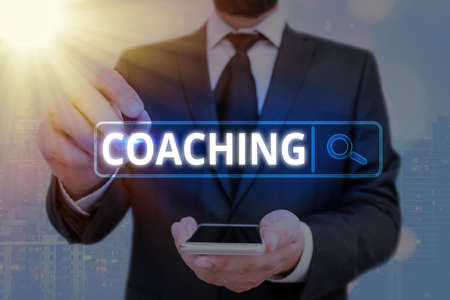 Word writing text Coaching. Business photo showcasing to instruct, direct, or prompt as a coach to subordinates Web search digital information futuristic technology network connection