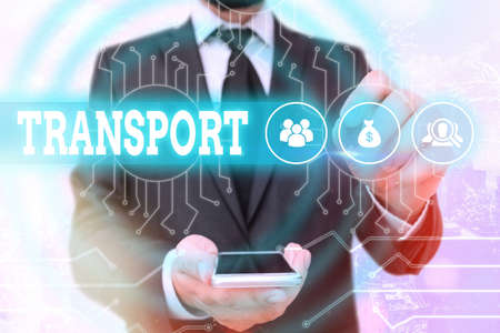 Text sign showing Transport. Business photo showcasing carry away with strong and often intensely pleasant emotion System administrator control, gear configuration settings tools concept