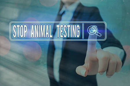 Conceptual hand writing showing Stop Animal Testing. Concept meaning put an end on animal experimentation or research Web search digital futuristic technology network connection