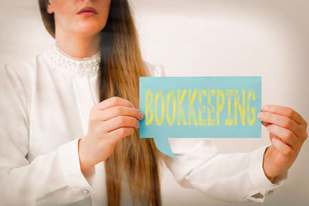 Writing note showing Bookkeeping. Business concept for keeping records of the financial affairs of a business Displaying different color mock up notes for emphasizing content
