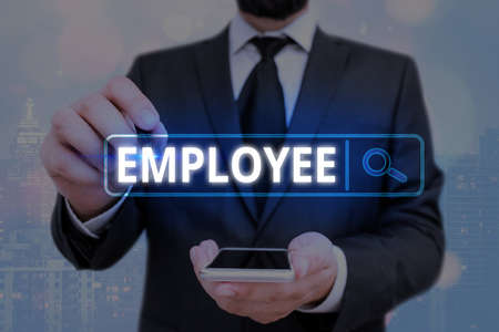 Word writing text Employee. Business photo showcasing one employed by another usually for wages or salary below the executive Web search digital information futuristic technology network connection