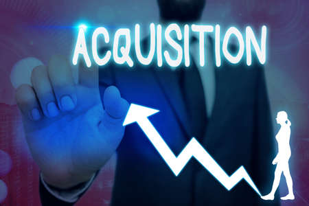 Conceptual hand writing showing Acquisition. Concept meaning asset or object bought or obtained, typically by a library Arrow symbol going upward showing significant achievement