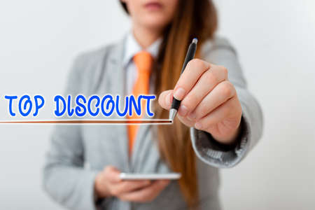 Handwriting text writing Top Discount. Conceptual photo Best Price Guaranteed Hot Items Crazy Sale Promotions Model displaying different shots of holding pen ready for promotional use