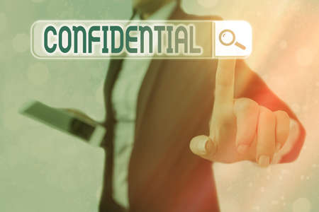 Conceptual hand writing showing Confidential. Concept meaning containing an individualal information whose unauthorized disclosure Web search digital futuristic technology network connection