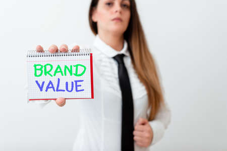 Text sign showing Brand Value. Business photo text company generates from product with recognizable for its names Model displaying different empty color notepad mock-up for writing idea Stock Photo