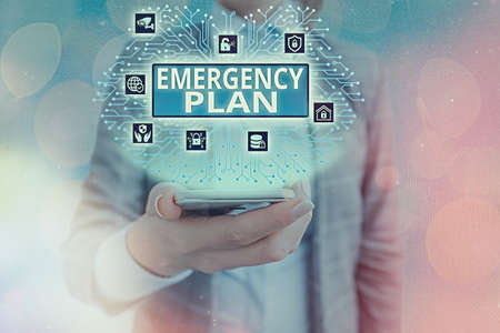 Conceptual hand writing showing Emergency Plan. Concept meaning procedures for handling sudden or unexpected situations System administrator control, gear configuration settings