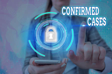 Text sign showing Confirmed Cases. Business photo text set of circumstances or conditions requiring action Graphics padlock for web data information security application system
