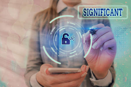 Conceptual hand writing showing Significant. Concept meaning sufficiently great or important to be worthy of attention Graphics padlock for web data security application system