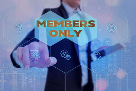 Text sign showing Members Only. Business photo showcasing Limited to an individual belongs to a group or an organization Grids and different set up of the icons latest digital technology concept