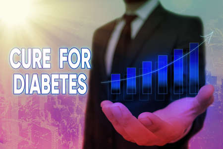 Conceptual hand writing showing Cure For Diabetes. Concept meaning looking for medication through insulindependent Arrow symbol going upward showing significant achievement