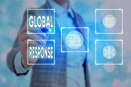 Conceptual hand writing showing Global Response. Concept meaning indicates the behaviour of material away from impact point Grids and different icons latest digital technology concept Stock fotó
