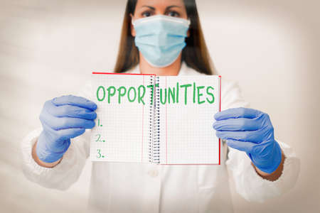 Word writing text Opportunities. Business photo showcasing good chance for advancement, favorable juncture circumstance Laboratory technician featuring empty sticker paper accessories smartphone Imagens