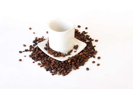 coffee mug spilled coffee on white Stock Photo - 6815057