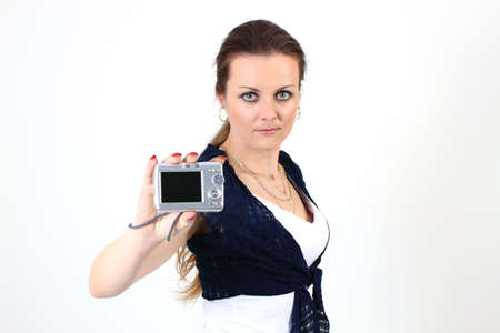 The attractive woman show YOUR photo on digital camera  on white background Stock Photo - 6815145