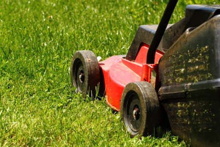 Detail of lawnmower on green grass in sunny day Banco de Imagens