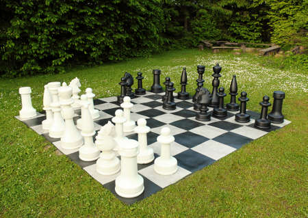 big outdoor chess in green lawn in sunny day Stock Photo