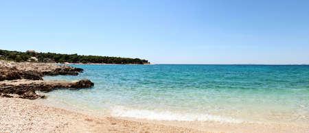 Panorama of beautiful beach in Croatia with rocks