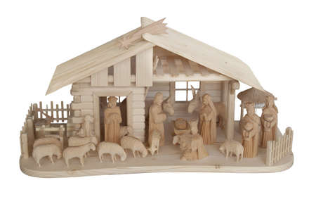 Nativity Scene made of wood, isolated on white Stock Photo - 8979608