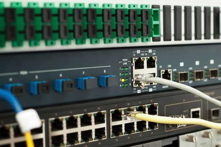 PON technology center with fiber optic and gigabit metalic equipment Banco de Imagens